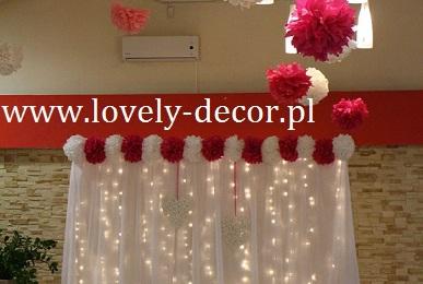 dekoracje slubne sali pompony , kule