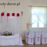 dekoracje sali weselnej - ciemny róż