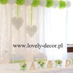 dekoracje sal weselnych -dekoracja sali w kolorze zielonym