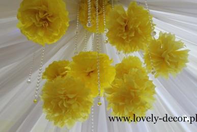 Dekoracje sal weselnych w kolorze żółtym --sala w Malinówce