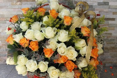 kosz z kwiatami podziękowanie