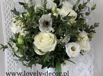 bukiet ślubny eukaliptus,anemon,róża,eustoma,