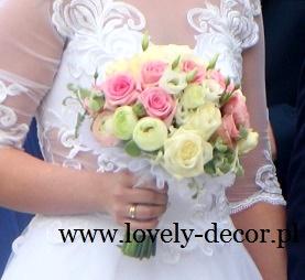 bukiet slubny z kwiatów pastelowych