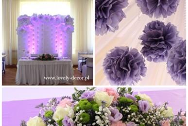 dekoracje weselne w kolorze fioletu